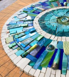 undefined Unfinished as yet, but, the most incredibly beautiful masterpiece from the talented hands of mosaic artist Siobhan Allen. How incredibly flattered do I feel?like the use of differing items and shapesStepping stones for garden? Mirror Mosaic, Mosaic Art, Mosaic Glass, Mosaic Tiles, Mosaic Crafts, Mosaic Projects, Art Projects, Glass Wall Art, Stained Glass Art