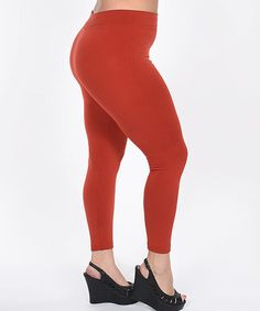 This Rust Fleece Leggings - Plus is perfect! #zulilyfinds