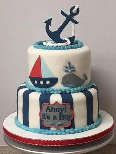 Trendy Baby Shower Ideas For Boys Sailor Nautical Cake Torta Baby Shower, Baby Shower Cakes For Boys, Baby Shower Decorations For Boys, Baby Shower Themes, Baby Boy Shower, Nautical Baby Shower Cakes, Shower Ideas, Sailor Baby Showers, Navy Baby Showers