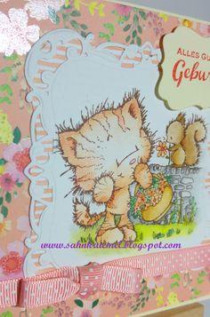 """""""Elsie with Squirrel"""" von Wild Rose Studio, Designerpapier """"Paper Flowers"""" von First Edition, Rahmenstanzformen von """"Köstliche Etiketten"""" von Spellbinders, """"Nesting Rectangles"""" von Vaessen, Spruchstempel von Marianne Design, Schleifenband von American Crafts, coloriert mit TwinklingsH2O."""