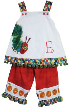 cb95ee06ffa9 Custom The Very Hungry Caterpillar Dress or Swing Top and Capris. $53.00,  via Etsy