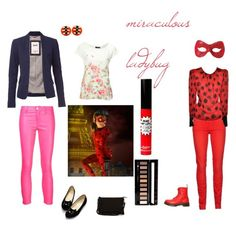"""""""miraculous lady"""" by polyvore-character-outfits ❤ liked on Polyvore featuring 7 For All Mankind, Dr. Martens, Tommy Hilfiger, Jane Norman, J Brand, Warehouse, TheBalm, Forever 21, ladybug and Miraculous"""