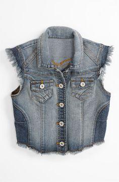 little girl denim vest.  girls fashion.  kids fashion.  tween fashion