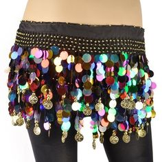 BellyLady Belly Dance Hip Scarf With Colorful Paillettes, Gold Coins Lively Style $7.99