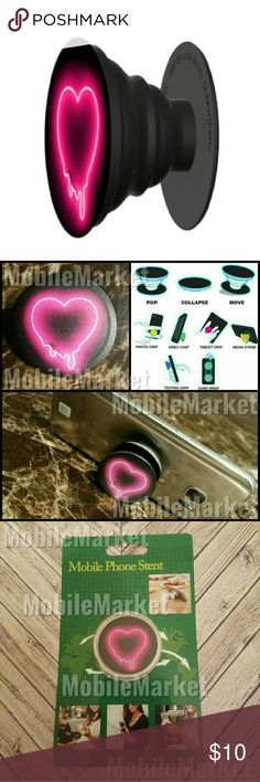 Mobile phone grip/stand melting neon heart *this is an individual listing for 1 phone stand, color is according to first picture*  Pop, tilt, wrap, grip, collapse, repeat! Mobile phone stent like a pop socket (popsocket). Have a secure grip while calling, taking selfies, and texting. Use as a phone stand, portrait and landscape mode. and even to wrap your headphones around and prevent tangles and knots!! Retail packaging makes it the perfect gift! Mobile Market Accessories