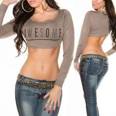 ef9e1e9908 Feliratos crop top cappuccino színben - Venus fashion női ruha webáruház -  Elképesztő árak - Szállítás 1-2 munkanap. HaspólókTunika