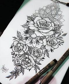 half sleeve tattoo designs and meanings Hand Tattoos, Rose Tattoos, Unique Tattoos, Beautiful Tattoos, Arm Tattoo, Body Art Tattoos, Tatoos, Floral Tattoo Design, Henna Tattoo Designs