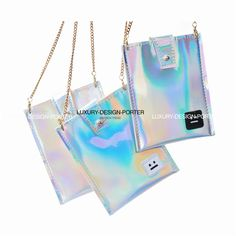 Designer Hologram Leatherette Small Phone bag Cross body Handbag Purse IT bag with chain