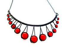 """Red """"Miracle Beads"""" Black Wire Wrapped Necklace with adjustable chain."""