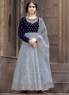 Blue Partywear Embroidered Anarkali Salwar Suit Anarkali Dress, Lehenga Choli, Pakistani Dresses, Anarkali Suits, Heavy Dresses, Special Dresses, Eid Dresses For Girl, Designer Gowns, Designer Anarkali