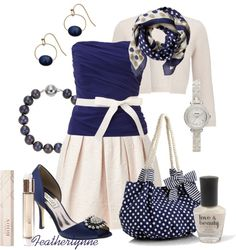 """Blueberry-Vanilla Bustier and Bag"" by featherlynne on Polyvore"