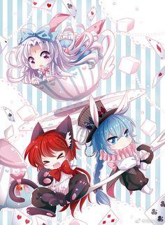 Alice in Wonderland Kawii Chibi tea party
