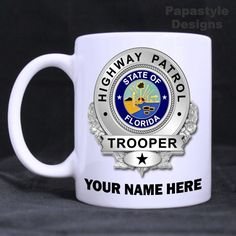 Florida Highway Patrol Personalized 11oz Coffee Mugs Made in the USA. #Handmade