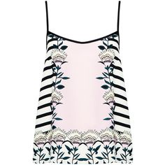 Markus Lupfer - Blooming Flower Stripe Silk Cami ($143) ❤ liked on Polyvore featuring tops, shirts, tank tops, pink stripe shirt, pink crop top, striped crop top, pink silk shirt and flower print shirt