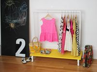 Kids Clothes Rack DIY - A Beautiful Mess // can see this being perfect for dress-up costumes.