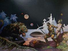 Vintage Frank Frazetta Art THUVIA MAID OF MARS 1974 Full Color Plate GGA Sci Fi #Vintage