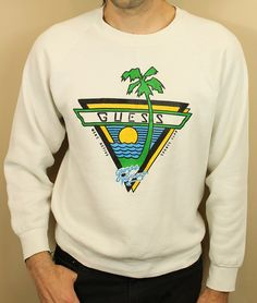 80s GUESS Marciano Beach Palm Tree Sports Club Sweatshirt Unisex