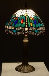 Teal Dragonfly 10inch Tiffany Table Lamp