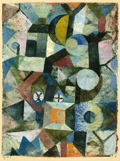 Composition with the Yellow Half-Moon and the Y 1918. PAUL KLEE.Gouache and watercolor on gesso on fabric. 22,2 x 16,8 cm. The Metropolitan Museum of Art, New York. 1984.315.13.