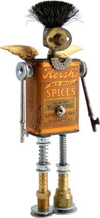 """Name: Hershey  D.O.B.: 11/17/11  Height: 9""""  Principal Components: spice tin, wire brush, drawer pull part, skeleton keys, rhinestone pin, hydraulic fittings, springs"""