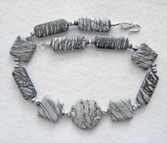 Gray Crazy Lace Agate and Gray Zebra Jasper Necklace - pinned by pin4etsy.com