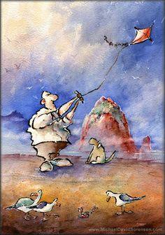 """Go Fly a Kite"" - Watercolor painting by Michael David Sorensen www.MichaelDavidSorensen.com"