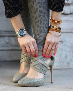 oversized men's watch, hermes enamel bracelet, neon polish, printed jeans...what isn't great about this look?