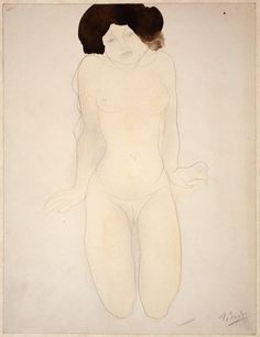 Auguste Rodin  French, 1840-1917, Kneeling Girl, en Face (Drawing No.6)