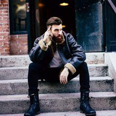 Levi Stocke - full dark red beard mustache beards bearded man men mens' style fashion clothing fall winter boots redhead ginger auburn bearding #beardsforever