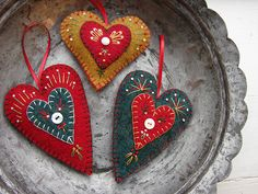 Upcycled wool heart ornaments