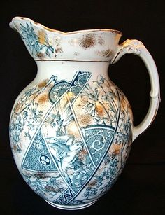 Remarkable English Earthenware Water Pitcher ~ Teal Flora, Parrot & Panels ~ Melburne Pattern ~ F. Winkle & Co Stoke on Trent England 1888