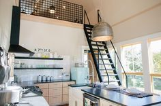 The stairs on a pulley system allowed for function and unique design in tonight's tiny house. #fixerupper @hgtv by joannagaines