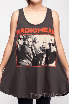Radiohead T Shirt Dress Thom Yorke UK Rock Band Shirts by TeeTwice, $16.99