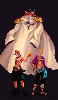 White beard, (Edward Newgate), Portgas D. Ace, and Marco the Phoenix One Piece One Piece Ace, One Piece Manga, One Piece World, One Piece Fanart, One Piece Luffy, Barba Blanca One Piece, Edward Newgate, One Piece English Sub, The Pirates