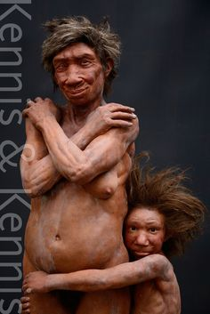 Reconstruction of Gibraltar Neanderthals made by Adrie and Alfons Kennis