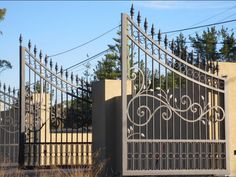 Custom Driveway Gates by JDR Metal Art for Homes Farms Ranches & Estates - Steel Iron & Aluminum Gates - Custom Driveway Gates - JDR Metal Art - Iron Steel & Aluminum - Home Farm Ranch & Estate Aluminum Driveway Gates, Wrought Iron Driveway Gates, Aluminium Gates, Metal Gates, Tor Design, Gate Design, Modern Driveway, Farm Gate, Steel Gate