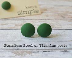 Green stud earrings hypoallergenic Green post earrings   Etsy Green Earrings, Simple Earrings, Beautiful Earrings, Gift Sets For Her, Earring Cards, Minimalist Earrings, Polymer Clay Earrings, Etsy Earrings, Studs