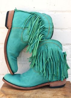 Boho Turquoise Leather Fringe Boots
