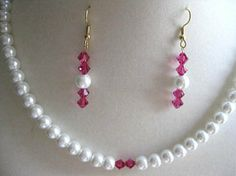 Perfect for a wedding!   Fuchsia and Pearls Necklace and Earrings Set by CreationsbyBlanco, $25.00