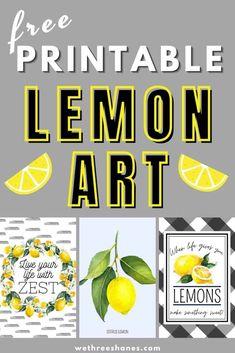 Lemon Crafts, Lemon Kitchen Decor, Lemon Art, Dollar Tree Crafts, Free Prints, Tray Decor, Limoncello, Free Printables, Summer Decorating
