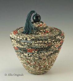'Emerald Garden' - kimono fabrics woven into a vessel by Dawna Ellis of D. Ellis Originals