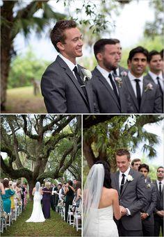 wedding ceremony under a big oak tree.