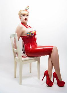 Starla Bright (burlesque performer) dressed as a gum ball machine! Photography by BoneShaker Photography, Sheffield UK.