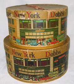 Shabby Vintage Dobbs 5th Ave Hat Boxes NY 1920s Street Scene