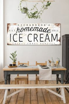 Family Name Sign Last Name Established Gift for Her Modern Farmhouse Personalized Rustic Kitchen Decor Ice Cream Shop Vintage Metal Signs Handmade Furniture, Modern Furniture, Furniture Design, Cream And Wood Kitchen, Cafe Interior, Interior Ideas, Interior Design, Vintage Metal Signs, Rustic Kitchen Decor