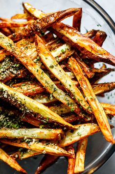 Crispy Homemade Air Fryer French Fries - All the Healthy Things Crispy French Fries, French Fries Recipe, Homemade French Fries, Air Fryer Recipes Paleo, Paleo Recipes, Skillet Recipes, Pizza Recipes, Free Recipes, Crispy Baked Potato Wedges
