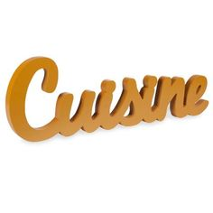 CUISINE yellow wooden wall art 20 x 60 cm