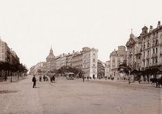 Madrid 1893. Calle Alcalá, la calle que sale a la derecha es la antigua Calle de San Miguel,  la actual Gran Vía antes del ensanche. En el centro de la imagen,el Palacio de Torrealla,demolido para construir el edificio de la Unión y el Fénix