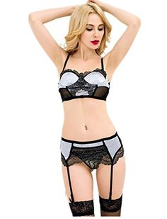 6ee2a38a845 ohyeahlady Women Badydoll Garter Belt Set Plus Size Delicate Mesh Underwire  Bra Set Black and Silver