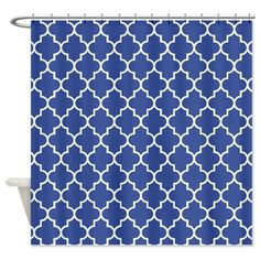 Navy blue quatrefoil pattern Shower Curtain on CafePress.com